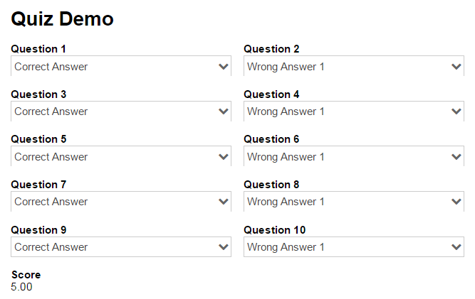 A multiple choice quiz template that adds up a total score based on the correct answers.
