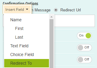 Insert the conditional redirect calculation field directly into the Redirect Url option.