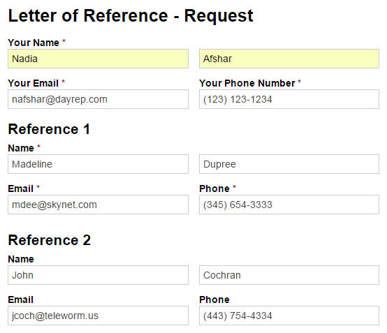 Letter of reference request form.