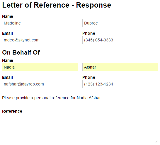 Letter of reference request form with information prefilled.