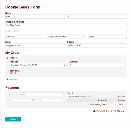 A sample form where users can sell cookies online.