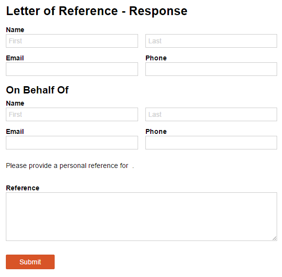 A letter of reference response form, with Name, Email, and Phone fields.