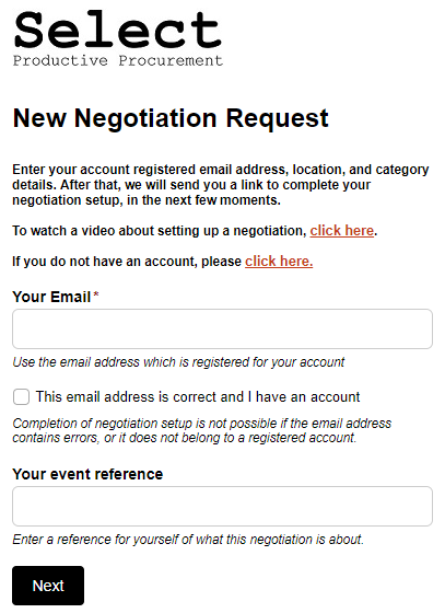Select New Negotiation Request Form
