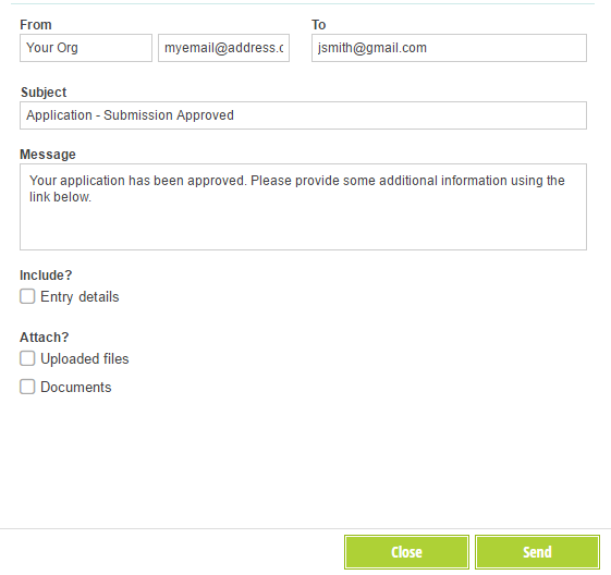 Write a custom email to send your approval message.