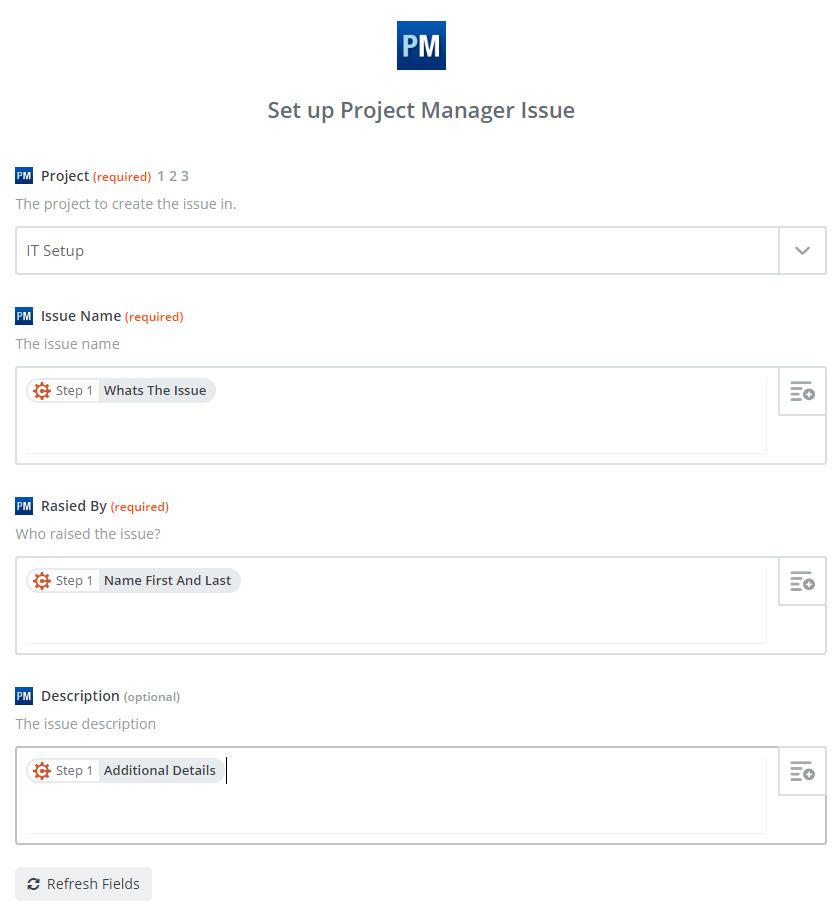 Set up Project Manager issue in Zapier.