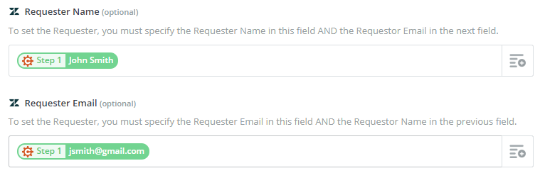Mapping the requester name and requester email fields in Zapier.