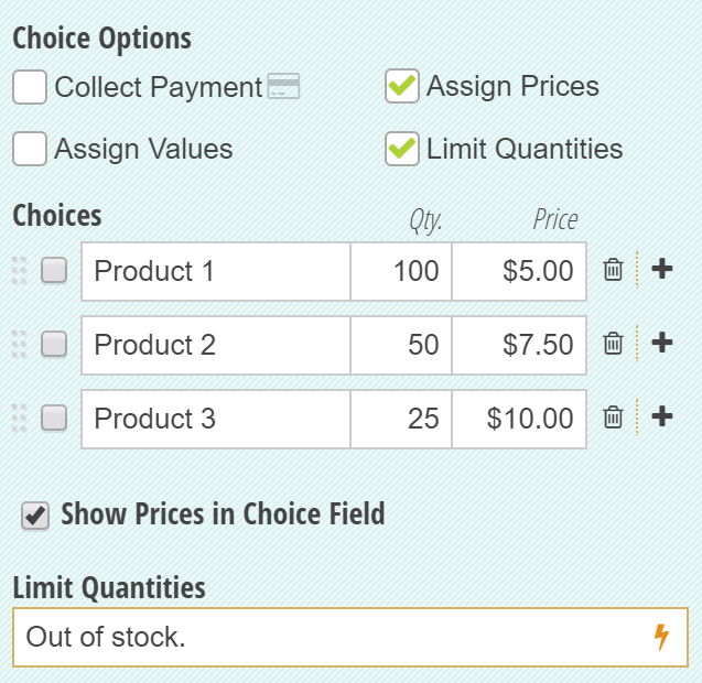 Setting quantity limits on a Choice field.