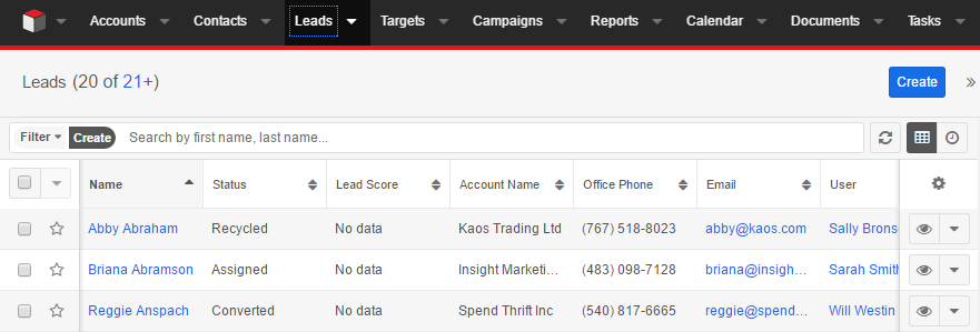 New leads SugarCRM.