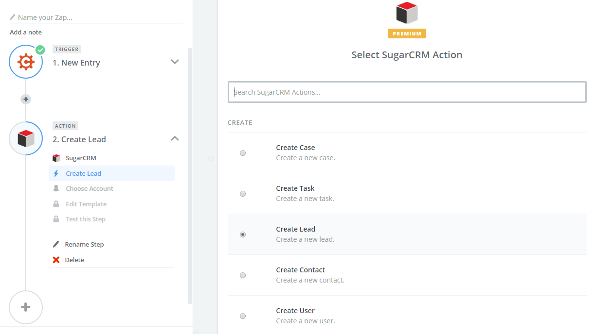 The Create Lead trigger for SugarCRM in Zapier.