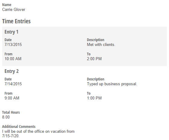 Timesheet form entry