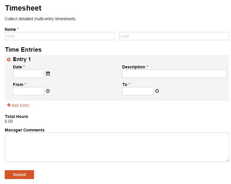 Timesheet form template