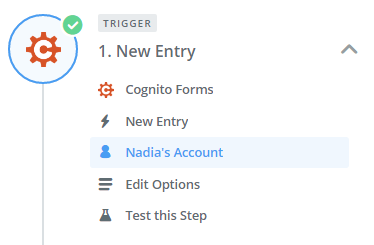 Select your Cognito Forms account to begin building your Zap.