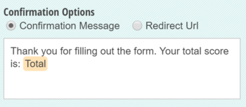 The total field value is inserted into the form confirmation message.