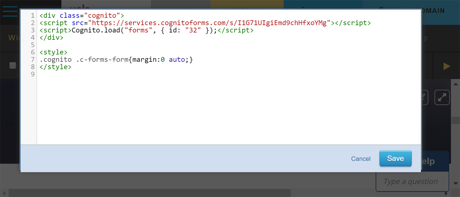 Insert your form's embed code directly into the style block in Yola.