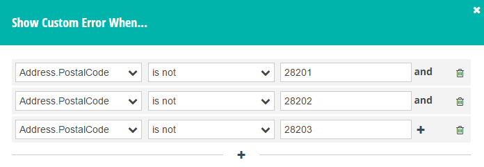 Add a list of required zip codes to the Custom Error dialog.
