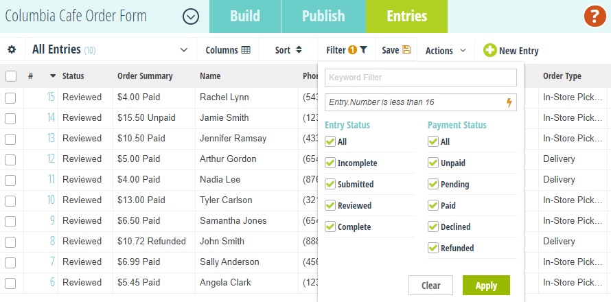 Create up to 16 views of your entry data.