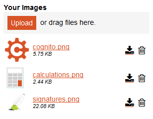 Example of multiple files uploaded with preview.