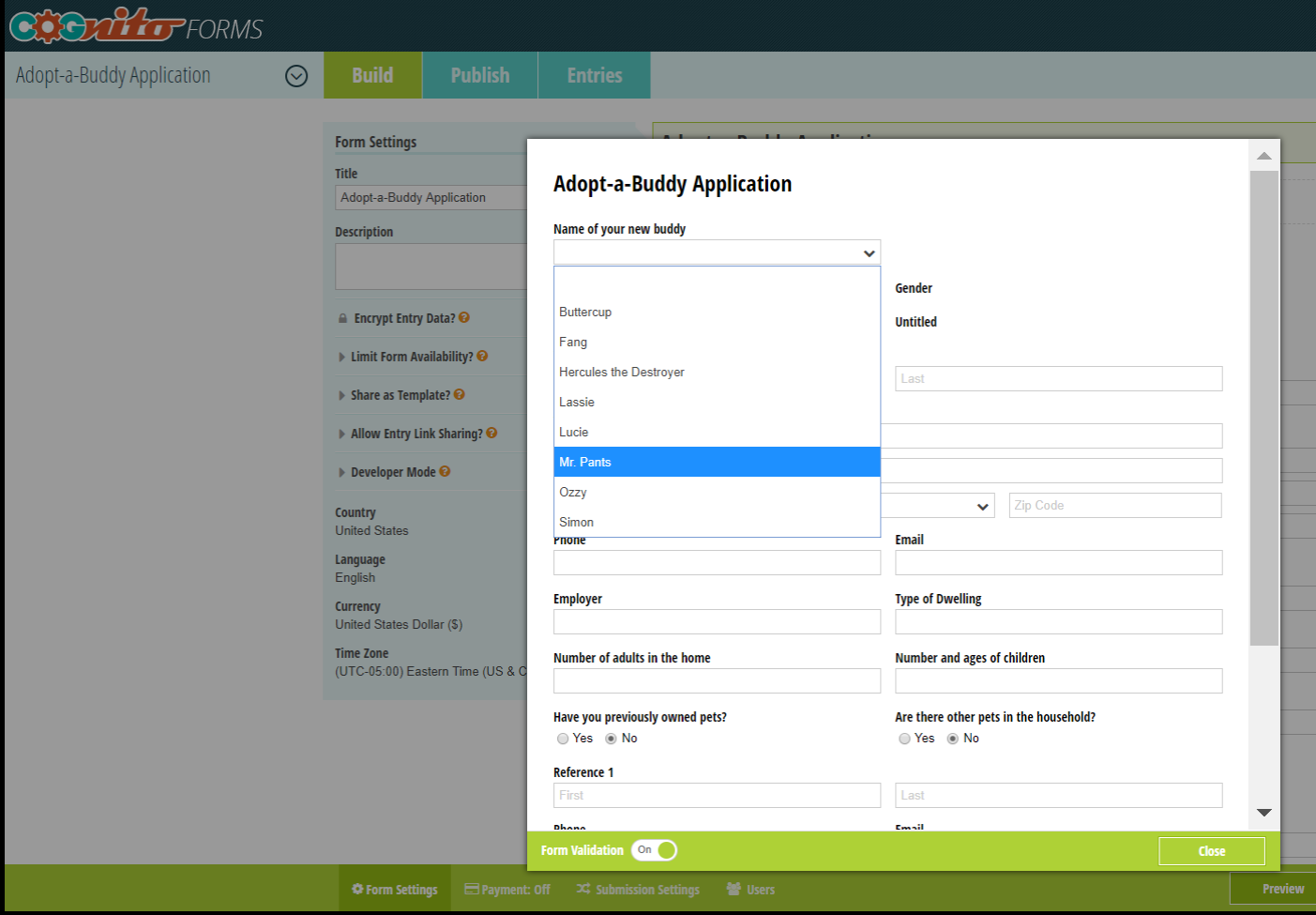 Adoption application.