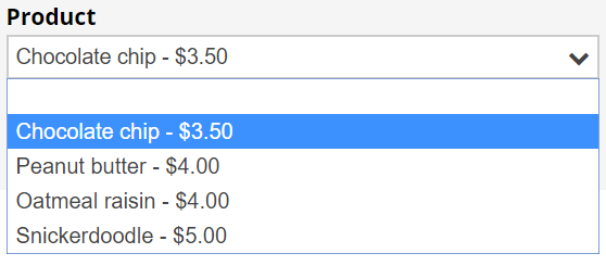 Using a Choice field to list products with assigned prices.