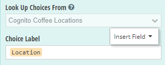 Include the list of locations as the Lookup Choice label.