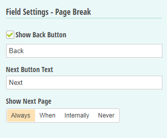 Show the back and next buttons on each page.