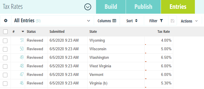 Populate the Entries page with the full list of states and tax rates.