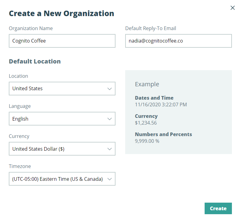 Give your new organization a unique name, select your reply-to address, and set your default location.