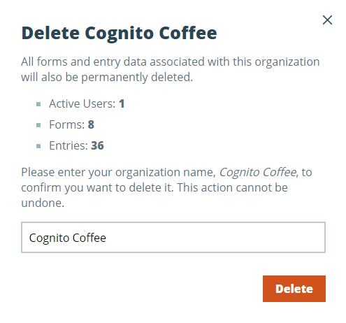 Confirm to delete your organization.