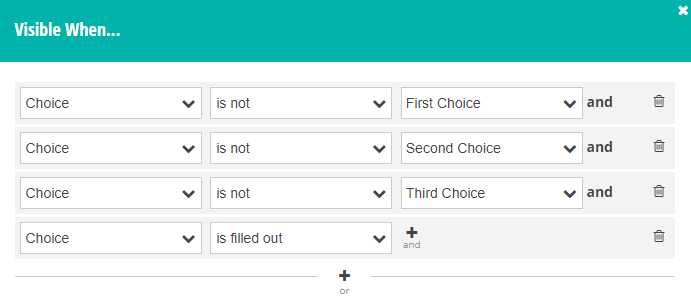 Using the conditional logic builder to determine if a Choice field is filled out and the other option is selected.