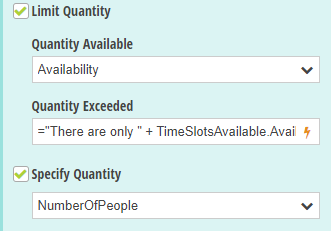 Select the Specify Quantity option and set the Quantity Available to the Availability field on the source form.