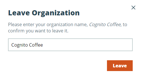 Confirm your decision to leave an organization.