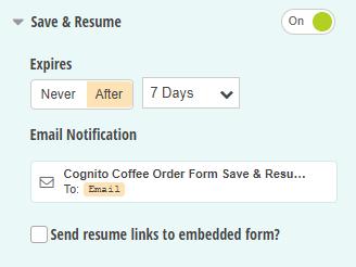 Save & Resume settings.