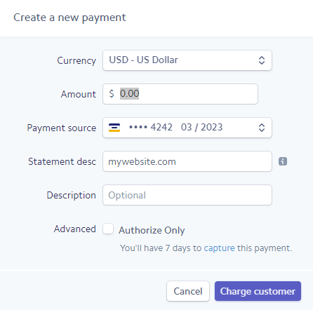 Create a new payment in Stripe.