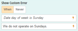 Show a custom error messag when a customer selects Sunday as the date.