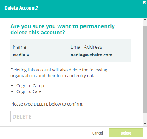 Confirm to delete your account.