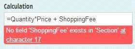 Calculation error message.
