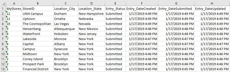 Exporting entries to Excel.