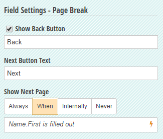 Use a Page Break to conditionally display pages on your form.