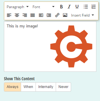 Upload or link to an image in your Content field.