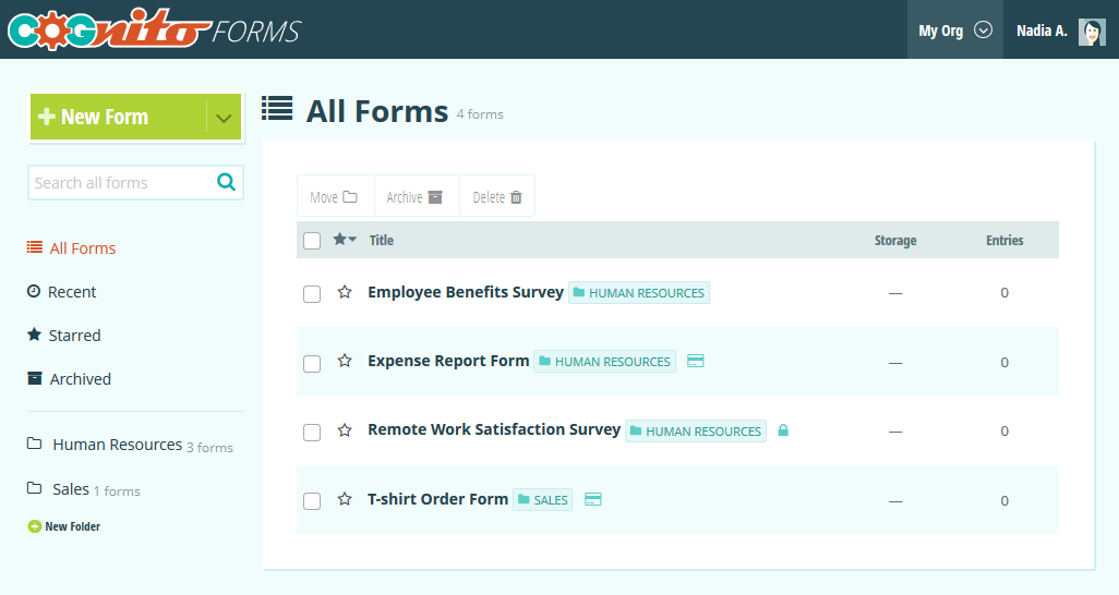 The forms home page.