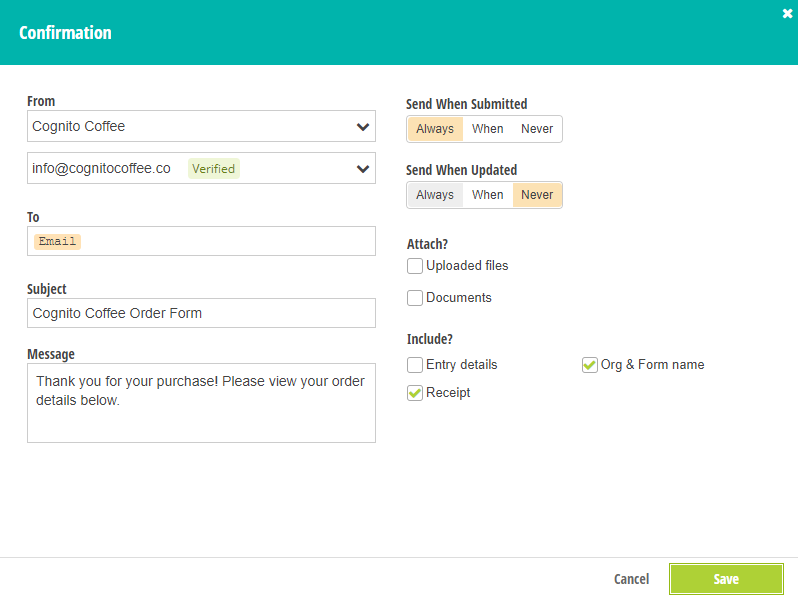 Set your verified email as the From address in email confirmations.
