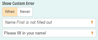 Show a custom error message when people don't fill in their name.