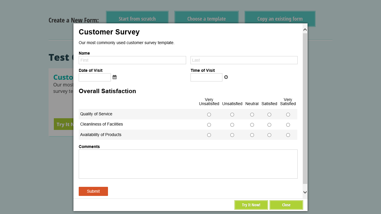 Previewing a shared form.