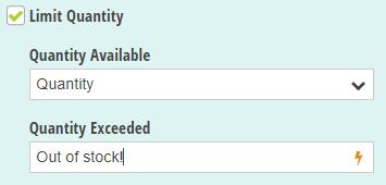 Limit Quantity option.