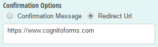 Optionally set a url to redirect to when the form is completed.