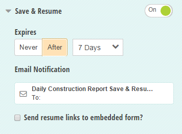 Save & Resume settings