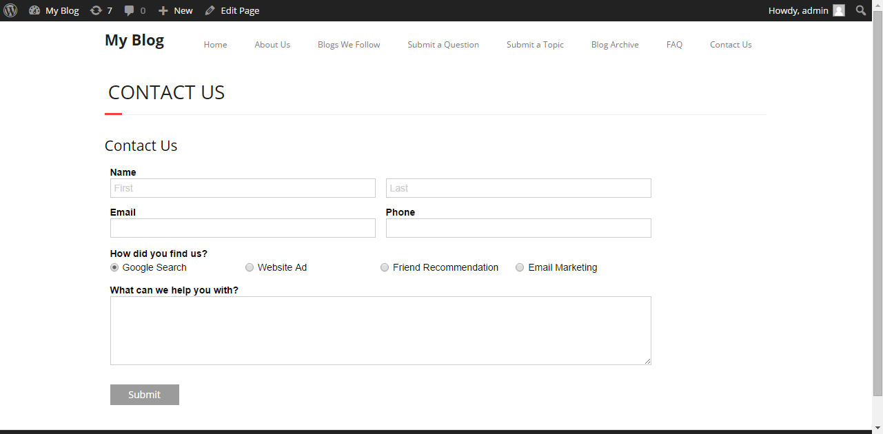 A form directly embedded within WordPress