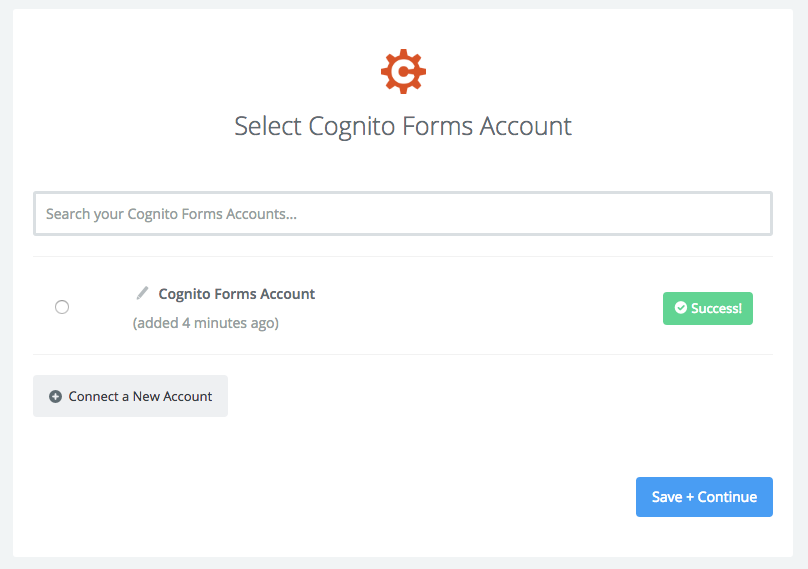 Connect your Cognito Forms account to finish setting up your Zap.