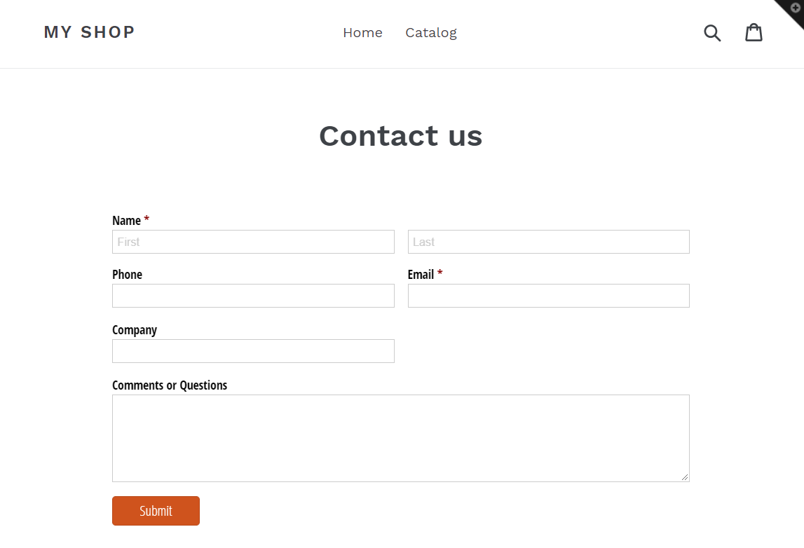 Embedded form in Shopify website.