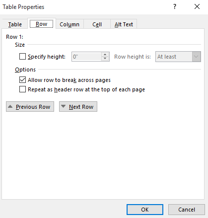 Updating table properties.